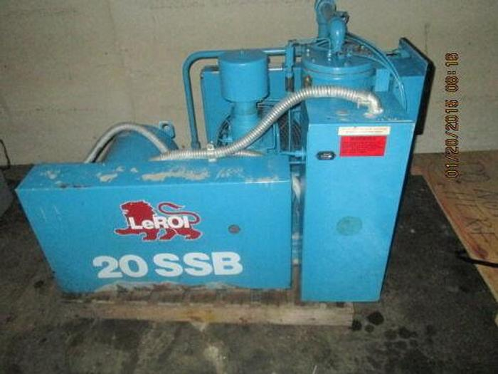 Used LEROI MODEL 20SSB ROTARY COMPRESSOR 20 H.P. 80 CFM ONLY 12K