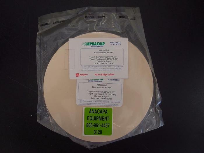 "Praxair Ceramics Sputtering Target AM11122-3 99.99% 8""x0.25"" (3128)"