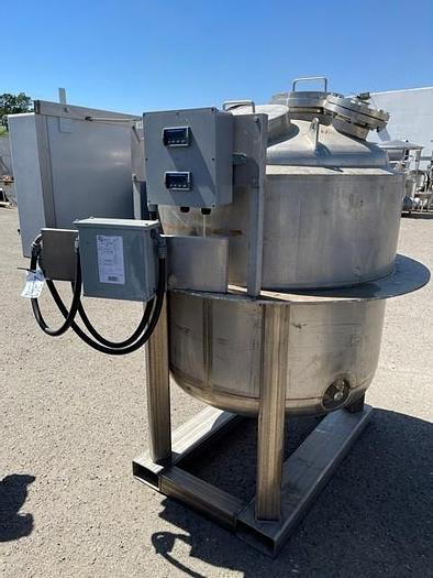 Used 250 Gallon Type 316 S/S Precision Stainless Vertical Jacketed  Pressure Tank