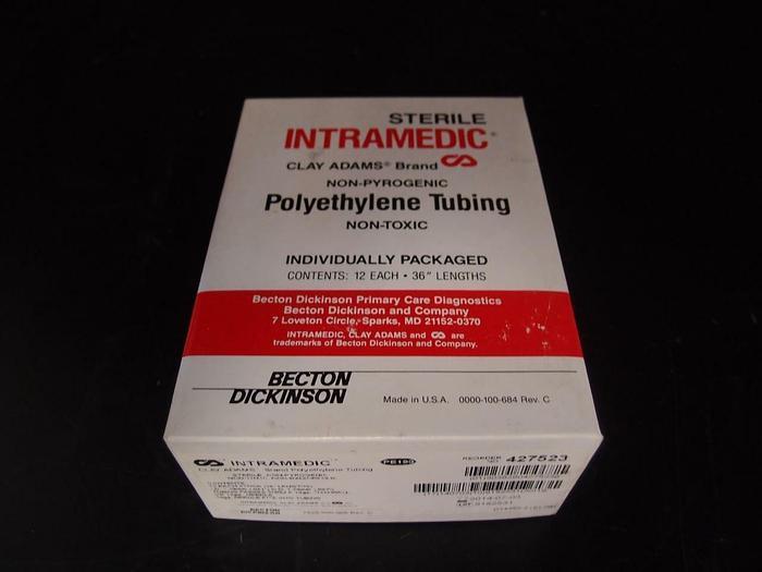 "Clay Adams Sterile Polytheylene Tubing  1 Box of 12, 1.19mm ID, 1.70mm, 36"" 1944"