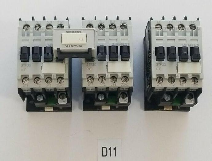 Used *PREOWNED* LOT OF 3 Siemens 3TF3001-0A Contactor Relay 20AMP 600V + 3TX4091-1A