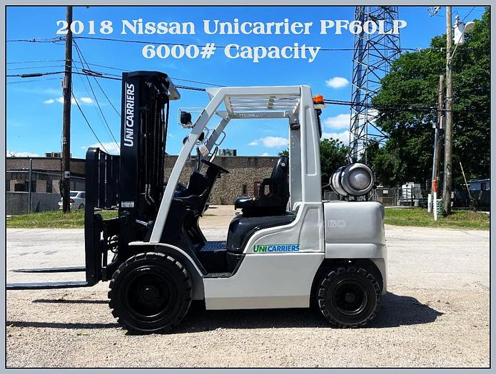 "Used 2018 Nissan Unicarrier Forklift, Model PF60LP, 6000# Capacity, 189"" 3 Stage Mast, Side Shift and Fork Positioner."
