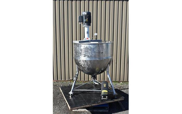 USED 360 GALLON JACKETED TANK (KETTLE), STAINLESS STEEL, WITH 25 HP VARIABLE SPEED HIGH SHEAR MIXER