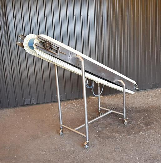 USED STAINLESS STEEL INCLINE CLEATED BELT CONVEYOR, 8'' WIDE X 108'' LONG