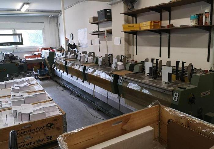 Used Muller Martini Presto 8 Feeders, Stitching unit, Three knife trimmer, Belt delivery