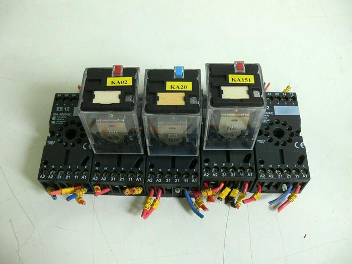 Used Lot of 5 - Entrelec ES 12 11 Pin Socket Relay Base w/ 3 TRP 6934 Relays