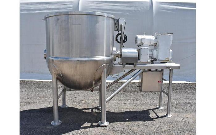 USED 500 GALLON JACKETED TANK (KETTLE), STAINLESS STEEL, WITH HORIZONTAL SCRAPE AGITATION