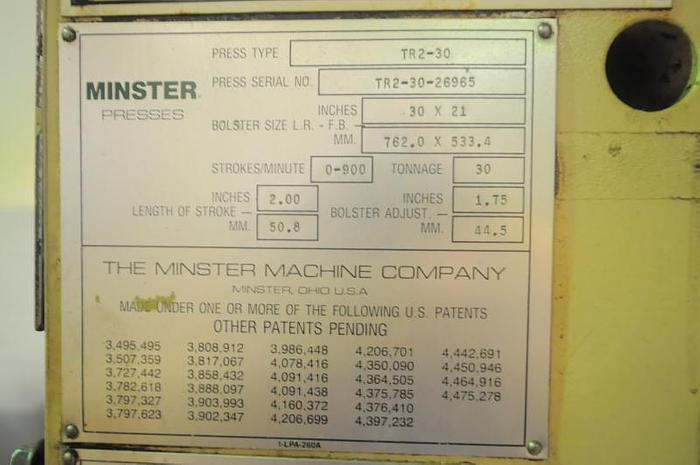 MINSTER PULSAR 30 HIGH SPEED STAMPING PRESS TR2-30