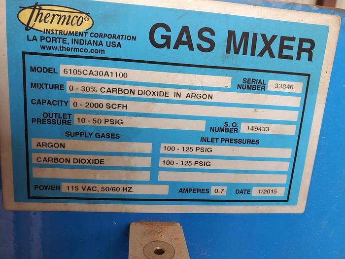 Used Thermco 6105 CO2 Argon Gas Mixer