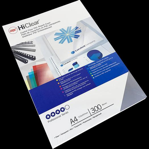 Branded HiClear PVC 300Micron Binding Cover Sheets (100)