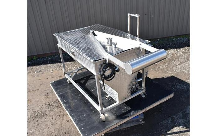 USED WAUKESHA ROTARY LOBE PUMP, MODEL 34, WITH 175 GALLON JACKETED STAINLESS STEEL TANK & BASKET FILTER