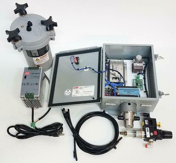 Used Nordson EFD 615DT 1 L Fluid Reservoir w/ Power Supply, EFD Pump Controller (4955