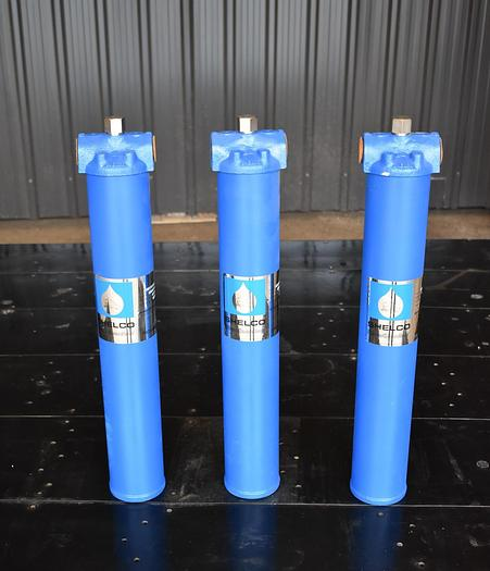 """Used USED SET OF THREE SHELCO FILTERS, CARTRIDGE TYPE, 0.75"""" INLET/OUTLET, CAST IRON STEEL, UNUSED"""