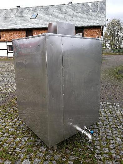 Używane Zbiornik prostopadłościenny nierdzewny z mieszadłem, płaszczem izolacyjnym i wężownicą