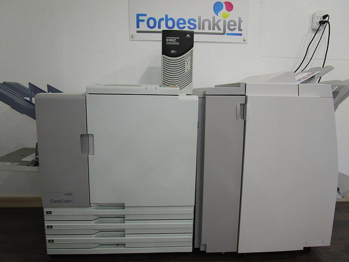 Used Riso ComColor 7050R Full Color Inkjet Printer with IS900C RIP Controller and Booklet Maker Finisher