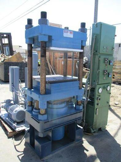 Used CLIFTON HEATED PLATTEN 4 POST HYDRAULIC PRESS WITH PUMPS AND CONTROLS