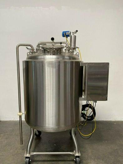 Used 600 Liter Stainless Steel Insulated Buffer Tank Rated 50 PSI w/ Bottom Mag Mixer