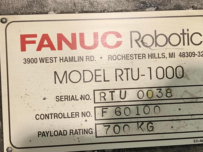 Used FANUC MODEL RTU-1000 7TH AXIS ROBOT FLOOR MOUNTED TRACK