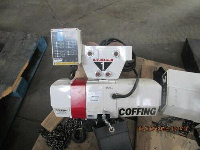 COFFING ECVT-2008-3 ELECTRIC CHAIN HOIST, 2000 LB. W/TROLLEY ENRANGE REMOTE