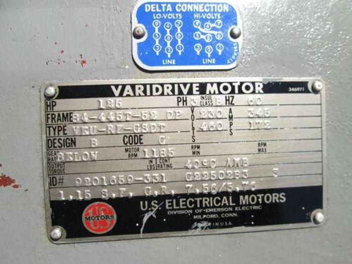 125 HP US VARI DRIVE ADJUSTABLE HIGH SPEED GEAR MOTOR WITH DUAL SPEED GEAR BOX
