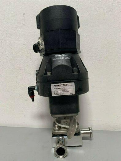 "Used ITT Pure-Flo A209 3-way Stainless Steel Diaphragm Valve w/ 1"" & 2"" Sanitary Fit"