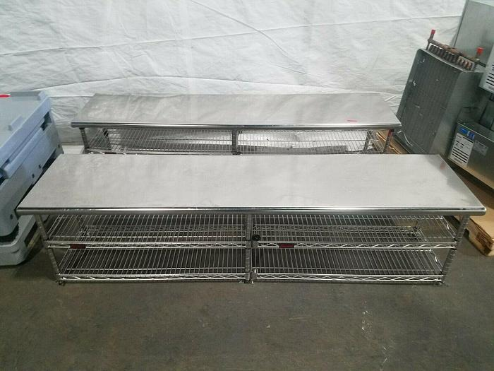 """Used Eagle Shelving Units 72"""" Long x 17"""" Wide x 19"""" High Table Top Shelves Stainless"""