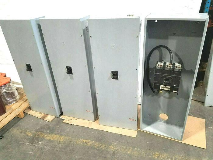 """Used GE 3 Pole Molded Case Switch 600 Volt 600 Amps mounted in 46"""" x 16"""" x 8"""" Cabinet"""