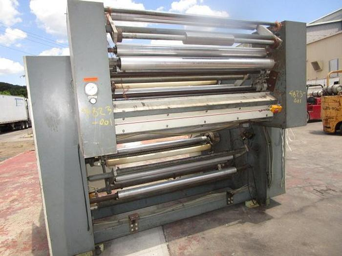 """Used Used 60"""" Gloucester 124E Dual Turret Winder with nips & lay on rolls"""