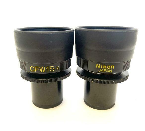 Used Nikon MBJ10150 CFW15X Microscope Eyepieces w/ Eye shields (Pair) (8874)W