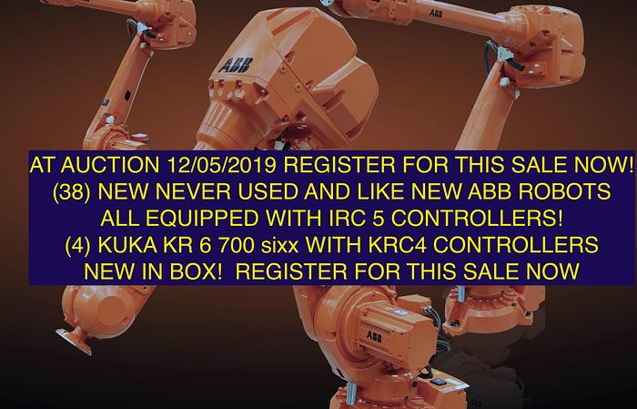 ABB IRB 4600 40/2.55 6 AXIS CNC ROBOT WITH IRC5 CONTROLS (23) AT AUCTION ON 12/05/2019 REGISTER TODAY!