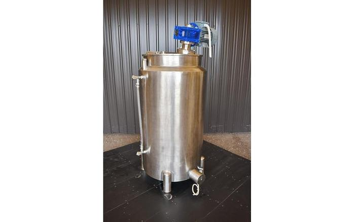 USED 50 GALLON JACKETED TANK, STAINLESS STEEL, WITH MIXER & ELECTRICALLY HEATED JACKET