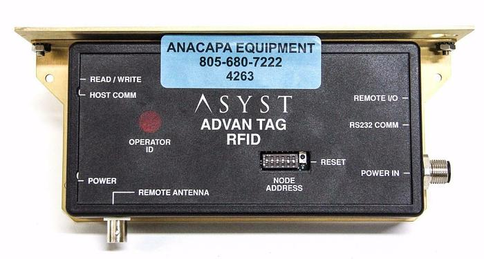 Used ASYST Advan Tag RFID ATR-9000  9700-6584-01 Rev. 005 with Mounting Plate  (4263)