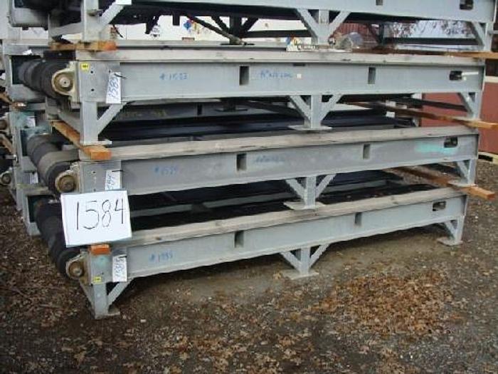 "Used Rubber Belt Pallet Conveyor 40 wide x 10' long 16"" high conveyor with dual 12"" wide rubber belts galvanized support frame 5 Hp gearmotor drive"" #1584"