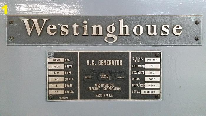 Westinghouse 12500 KVA Generator