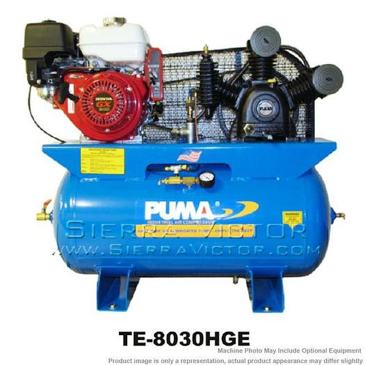 PUMA 8 HP Professional/Commercial Two Stage Gas-Powered Air Compressor without Tank TE-80HGE