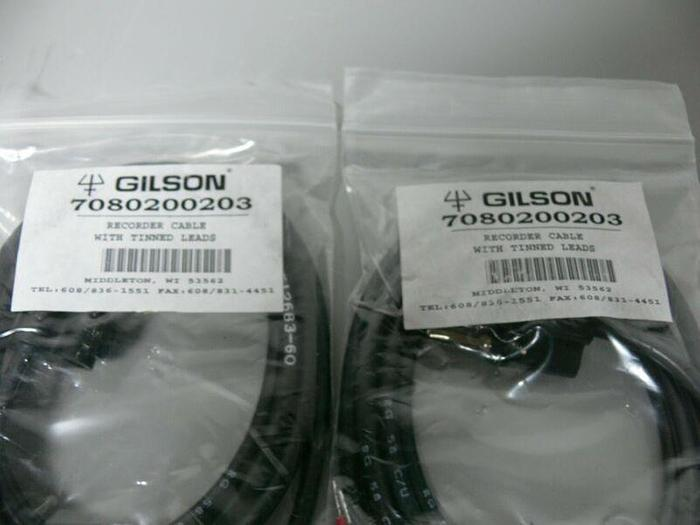 Used Lot of 2 Gilson Recorder Cables w/ Tinned Leads 7080200203