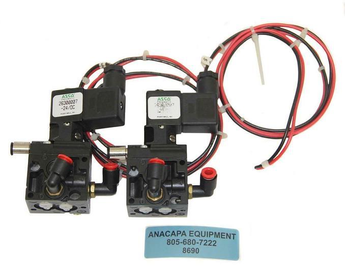 Used ASCO 26300007-24/DC 4/2 Series AP Inline Solenoid Valve Lot of 2 (8690)W
