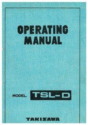 Used Manual for Used Takisawa Lathe Machine TSL-D Operation Manual