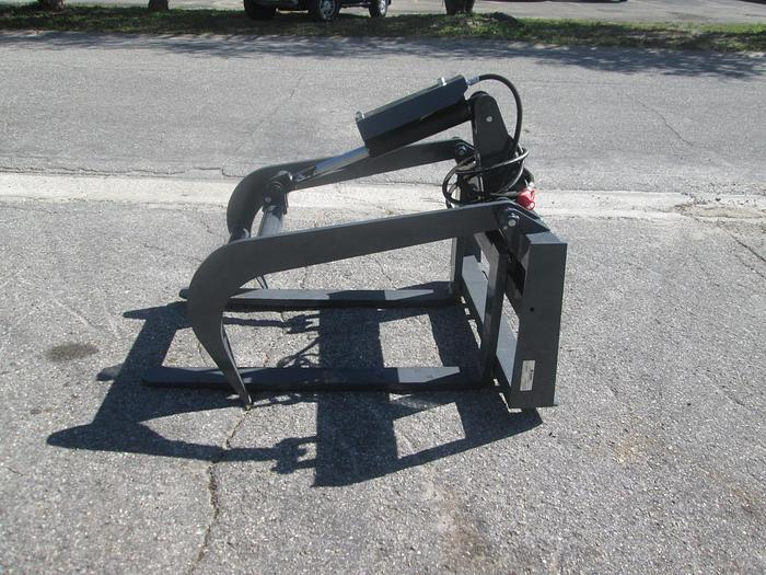 """Used Mower King 48"""" Grapple Skid Steer Fork Attachment"""