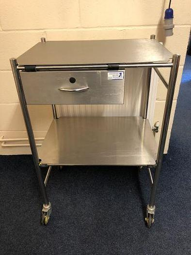 Trolley Stainless Steel 600 x 450mm 2 Shelves and drawer