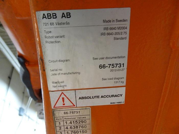 ABB IRB 6640 6 AXIS CNC ROBOT 205KG X 2.75 REACH IRC5 CONTROLS