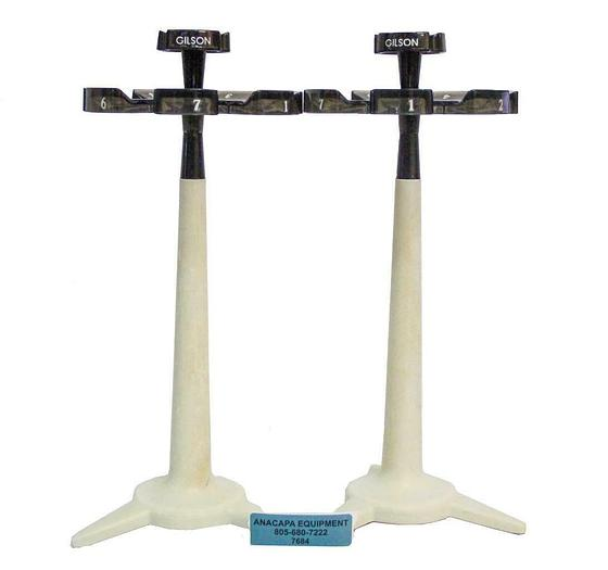 Used Gilson F161401 Carousel Pipette Stand, Holds up to 7 pipettes Lot of 2 (7684) W