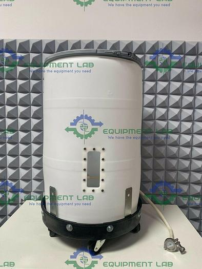 Used 55 Gallon  Natural Plastic Drum w/ 3/4 NPT Side Ports & Rolling Stand