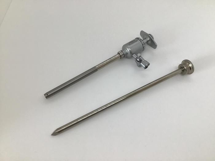 Trocar and Sheath 5.5mm Diameter Trumpet Valve with one Luer Lock Stopcock by 175mm (7in) PILLING
