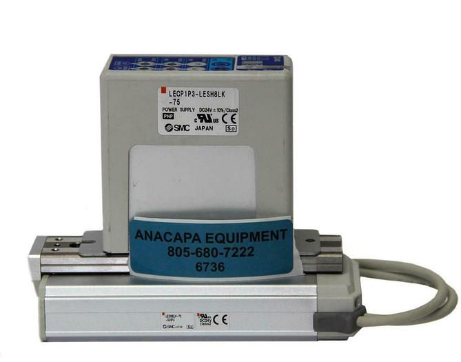 Used SMC LESH8LK-75-S31P3, Electric Actuator Slider, LECP1P3-LESH8LK-75 Motor (6736)W