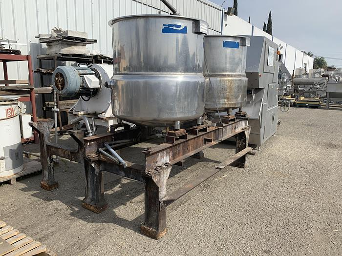 (2) 200 Gallon Jacketed Stainless Steel Cooking Tanks