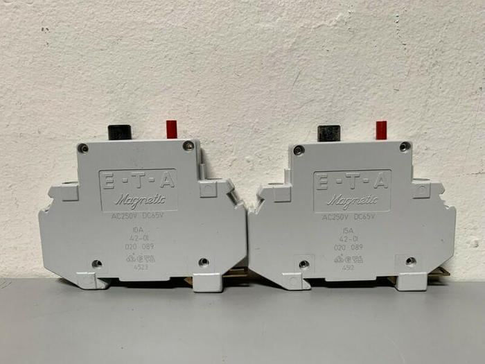Used Lot of 2- ETA Magnetic Circuit Breaker AC250V DC65V
