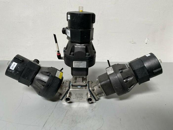 Used 3 ITT Pure-Flo A209 Stainless Steel Diaphragm Valves w/ Position Monitor