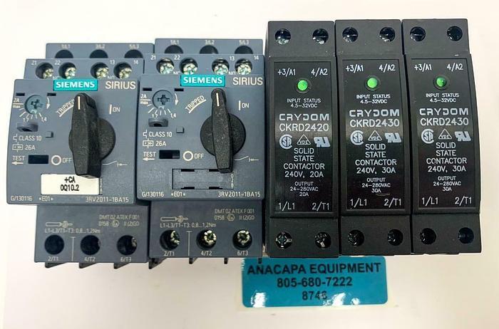 Used Crydom CKRD2430 Contactor, Siemens Sirius 3RV2011-1BA15 Breaker Lot of 5 (8746)W
