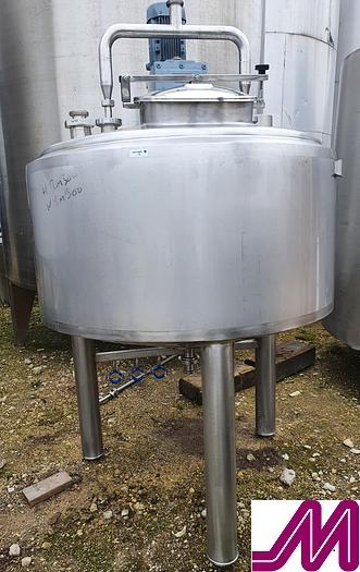 Used Gemac 1,000 Litre Stainless Steel Mix Tank with Gate Agitator